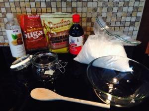 Brown sugar Raw sugar White sugar Almond oil Vanilla extract